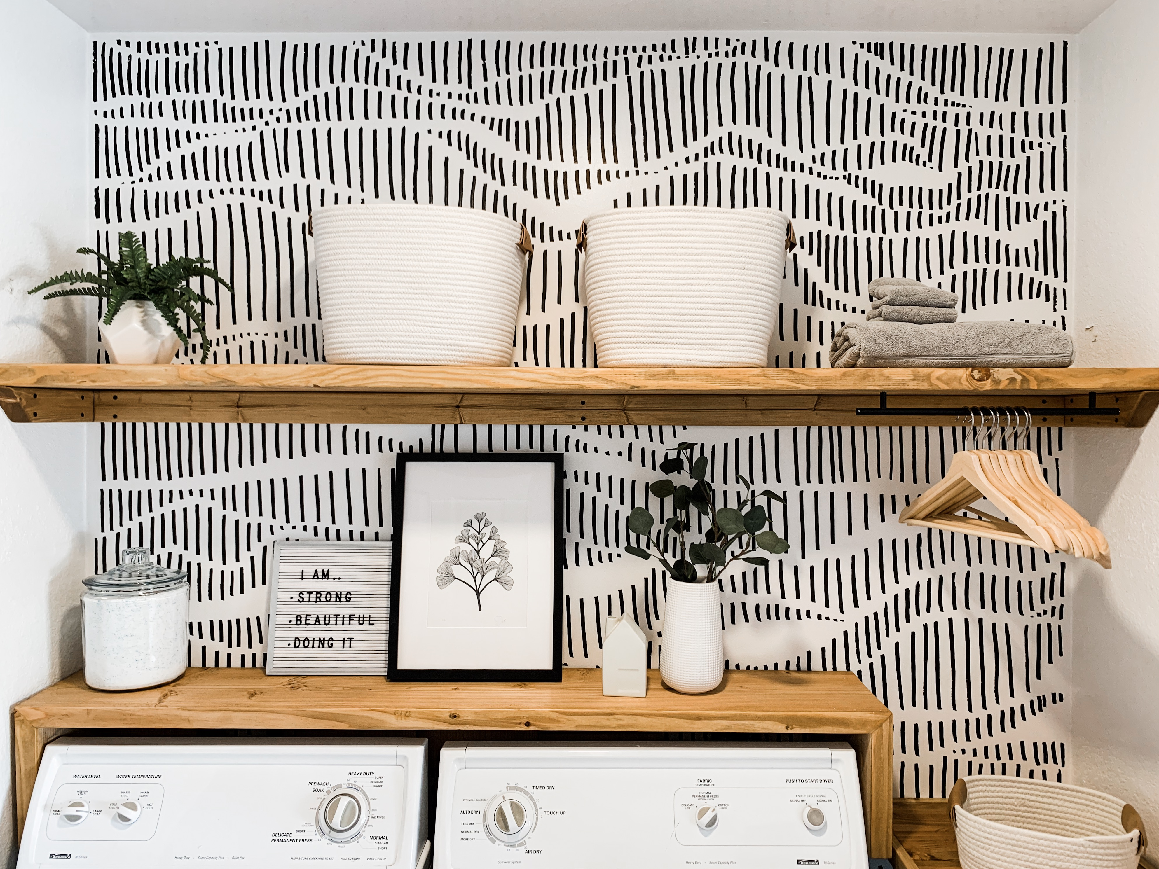 Modern Laundry Room Refresh With Hand Drawn Wallpaper